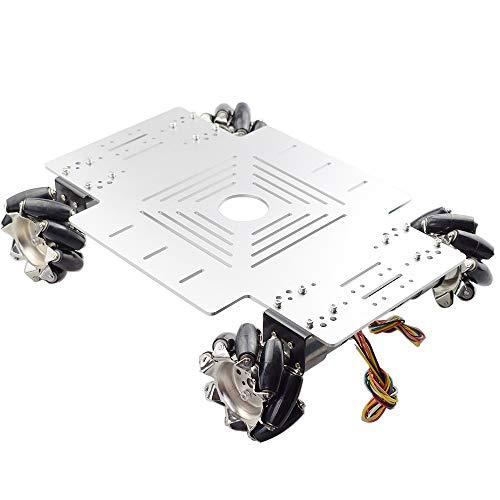20KG Big Load 4WD All Metal Mecanum Wheel Robot Car Chassis Kit Platform with DC 12V Encoder Motor for Arduino ROS Project