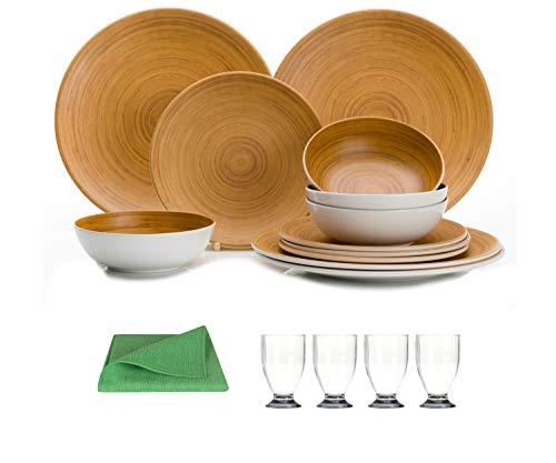 Moritz Melamin Camping Geschirr Set 4 Personen Bamboo Design + 4 Saftgläser grau + 1x Mikrofasertuch grün Campinggeschirr Tafelgschirr