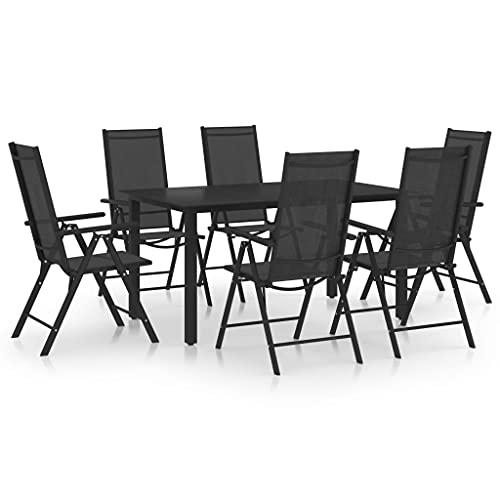 vidaXL Juego de Comedor para Jardín de 7 Piezas Mueble Mobiliario Exterior Terraza Balcón Hogar Cocina Mesa Silla Asiento Suave Estable Aluminio Negro