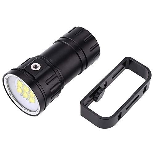 Linterna de buceo LED 28800Lm Fotografía LED Linterna de buceo 80m Antorcha con soporte de soporte