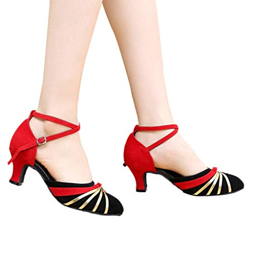 Dasongff Damen Tanzschuhe Standard Frauen Geschlossene Zehe Tanzschuhe Latein Ballschuhe Salsa Tango Tanzen Schuhe 5.5cm High Heels Pumps Sandaletten Mary Jane Halbschuhe