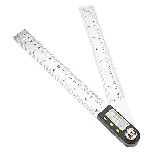 Keyren Winkelmesser-Lineal, 0-200 mm Edelstahl Elektronisches Winkelmesser-Digital-Goniometer-Winkelsucher-Gehrungslehre-Lineal