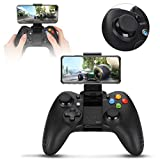 Garsentx Gamepad Bluetooth, Joystick Controller di Gioco Wireless Gamepad Bluetooth con Supporto telefonico Regolabile per Android/iOS/PC(Nero)
