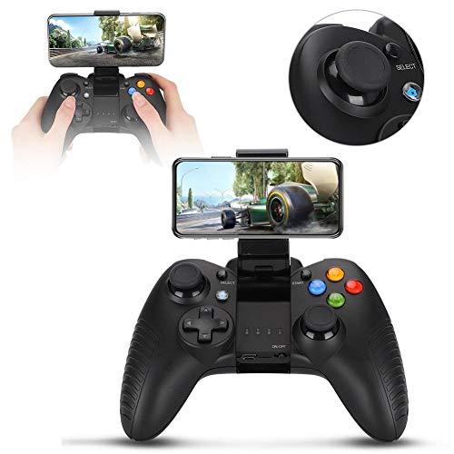Garsentx Gamepad Bluetooth, Joystick inalámbrico Bluetooth Gamepad para Juegos con Soporte de teléfono Ajustable para Android/iOS/PC(Negro)