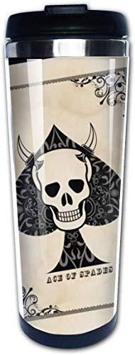 Ace of Spades Rose Death Card Koffie Bekers Roestvrij Staal Water Fles Cup Travel Mok Koffie Tumbler voor Vrouwen/Mannen/Kinderen/Tieners/Volwassenen Thuis Outdoor