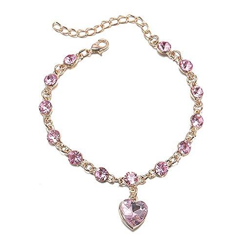 Braccialetto a catenella con ciondolo a cuore e perline rotonde in diamenti sintetici e luminosei, da donna, alla moda e Lega, colore: Gold Pink, cod. Greenlans-8102866
