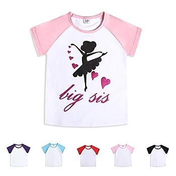 CREATOR Toddler Big Sister Baby Girls Boys Short Sleeve Shirts Raglan Shirt Baseball Tee Cotton T-Shirt  Big Sis 4 Years
