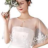 KLOVA Mujeres Floral Hojas Apliques Mantón Abrigo Encogimiento de Hombros Perlas Rebordear Encaje Nupcial Tul Capa Vestido de Novia Aleta Hebilla Frente Bolero Cubrir