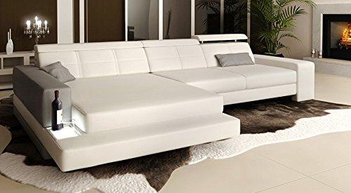 Bullhoff by Giovanni Capellini Ledersofa weiß/grau Wohnlandschaft Leder Ecksofa Ledercouch Sofa Couch L-Form mit LED-Licht Beleuchtung Designsofa Imola III