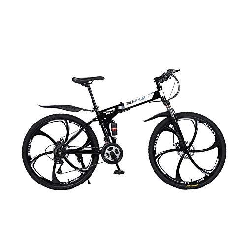 """LIU Bici Bicicletta MTB Mountain Bike 26"""" Pollici Full Susp Biammortizzata, Doppio Ammortizzatore, Cambio, Telaio Alluminio, Freni a Disco,27speed"""