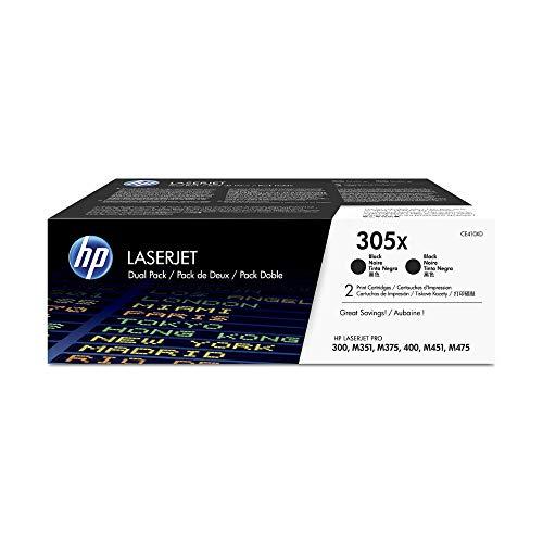 HP 305X 2er-Pack (CE410XD) Schwarz Original Toner mit hoher Reichweite für HP Laserjet Pro M351, M375nw, M451, M475