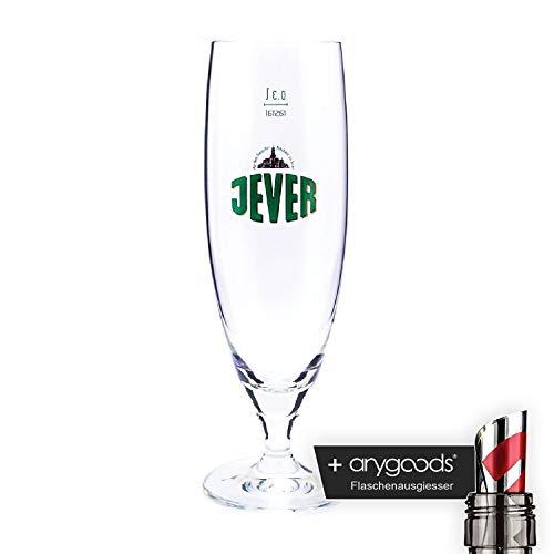 Jever 0,3l Glas/Gläser, Pokalglas, Markenglas, Bierglas NEU + anygoods Flaschenausgiesser
