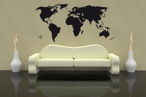 Premium Parete Adesivo Mappa del Mondo Carta Terra 130x60cm Fino a 260X 120Nero O Bianco SPEDIZIONE Gratuita, Schwarz (RAL9005), Größe 200x90cm
