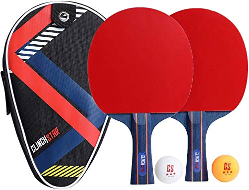 Clinch Star Ping Pong Table Tennis 2 Paddle Rackets Professional Set  3 Star Balls amp Organizing Carry Case  Hooks to Table