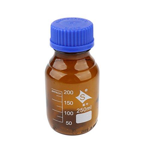LOVIVER 100ml-1000ml Reagenzflasche Glas Laborgewindeflasche Borosilikatglas Laborflasche, Braun - 250ml