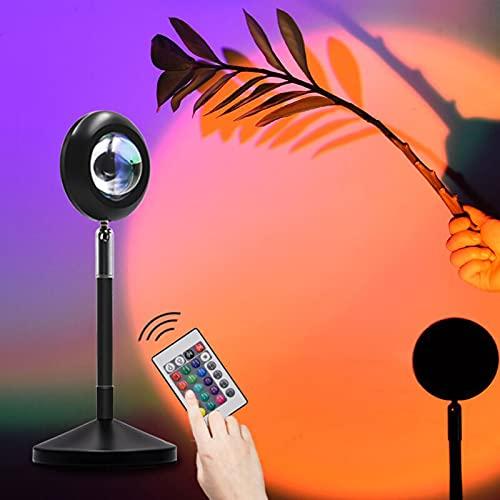 LUDAXUE Puesta de Sol Proyección LED Luz de Control de 180 Grados Rotativo Rainbow Piso de la lámpara de proyección con Control Remoto Regulable con la luz de Noche romántica USB