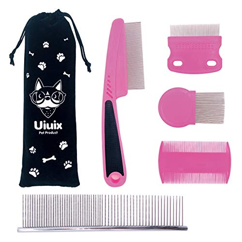 UIUIX Tear Stain Remover Combs for Cat Dog, 5 Pieces Pet Combs Grooming Comb Set with Pouch