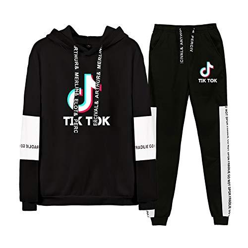 Tik Tok Sportswear Anzug, 2Er Set Set Hoodies Und Jogger Modetrend Männer Und Frauen Outdoor Sport Pullover Sweatshirt,B,S