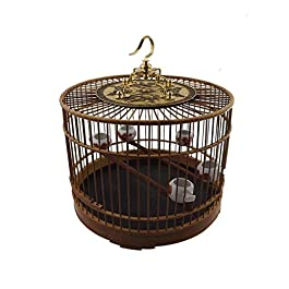 Birdcage Indoor and Outdoor Bird Cage Bamboo Bird Villa Chinese Style Retro Design Diameter 29cm Aviary Xping