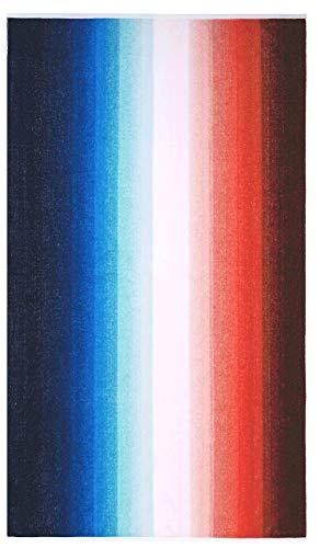 Lashuma Maui - Toalla de playa de terciopelo, 100 x 180 cm, XXL, algodón, color rojo, blanco y azul