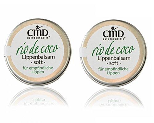 CMD Rio de Coco Lippenbalsam Soft mit Kokosöl 2er-Pack (bio, vegan, Naturkosmetik) Kokos Lippenpflege in Dose