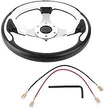 Qiilu Steering Wheel, 13in 320mm Universal PU Leather Car Sport Racing Drift Steering Wheel White, Racing Steering Wheel