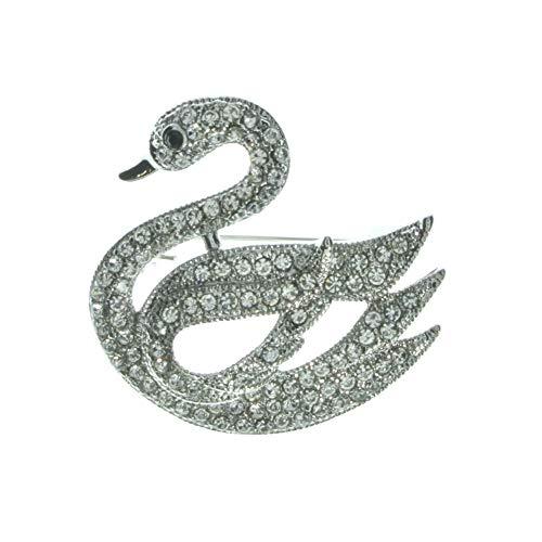 Swan Brooch Silver Pin Women's Fashion Jewellery Love Bridal Wedding Pin Diamante Jewellery