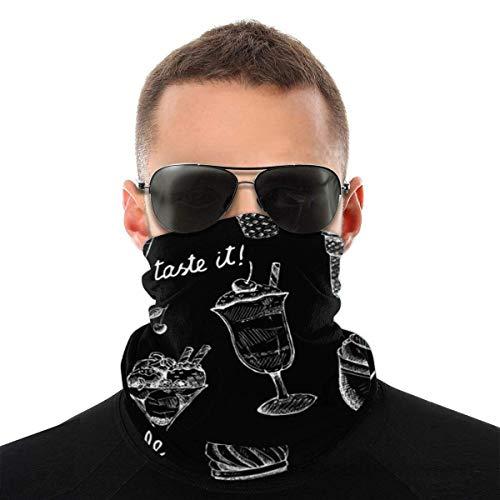 NRBYE Cartoon Sommer Eisbecher schwarzer Hintergrund Eis Dessert Sorte Kopftuch, Gesicht Bandanas, weich, Stirnband Erwachsene