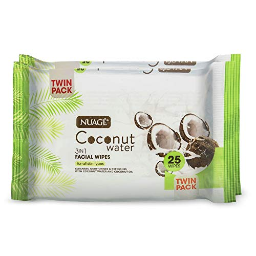 Nuage, Coconut Water Facial Face Cleansing Skin Wipes, 2 x Twin Packs (4)