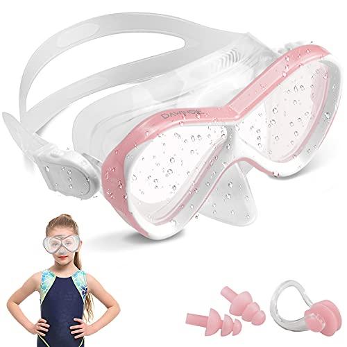DAWINSIE - Gafas de buceo para niños (4-12 años), gafas natación la playa con protección contra fugas y UV, tapones los oídos pinzas nariz incluidos, correa silicona ajustable, baño niñas