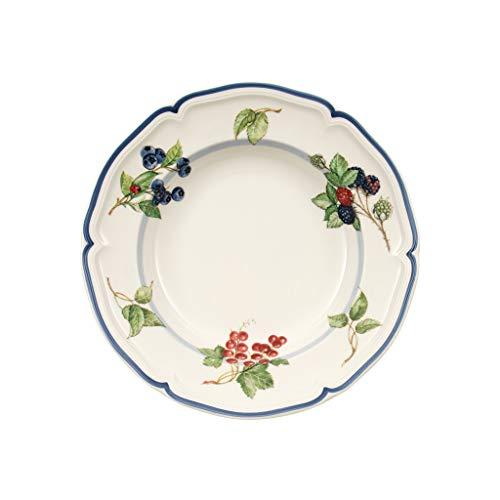 Villeroy & Boch Cottage Piatto Fondo con Decorazione di Frutta, Porcellana, Fondo in Stile Country con Bordo Decorato Blu, Lavabile in Lavastoviglie, 23 cm