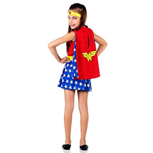Capa Mulher Maravilha Infantil 925123-U, Vermelho/Azul, Sulamericana Fantasias