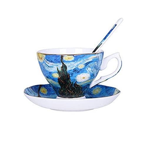 Gwiaździste niebo,nocna kawiarnia,siewca,słoneczniki,irysy,morele kwiaty sztuka malowanie kubek kawy kubki herbaty (Capacity : About 180ml, Color : A 1 SET)