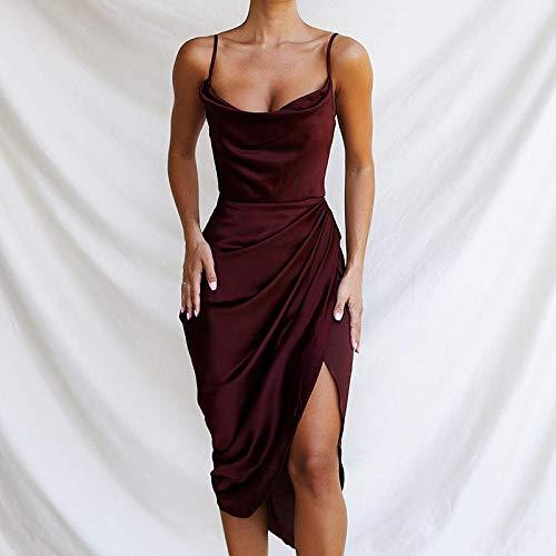 Hübsche Kleid Kleider Dress Damen Kleid Frauen Satin Partykleid Schwarz V-Ausschnitt Höhe Seite Split Sexy Minikleid Frauen Rüschen Skinny Elegante Kleider S Rot