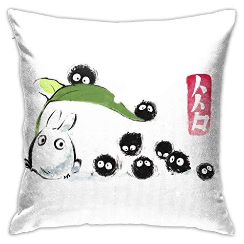 Kissenbezug Soft Square Kissenbezug Home Decor für Bett Couch Sofa Bauernhaus Kissenbezüge Beide Seiten (18 'x 18') - Studio Ghibli Totoro Forest