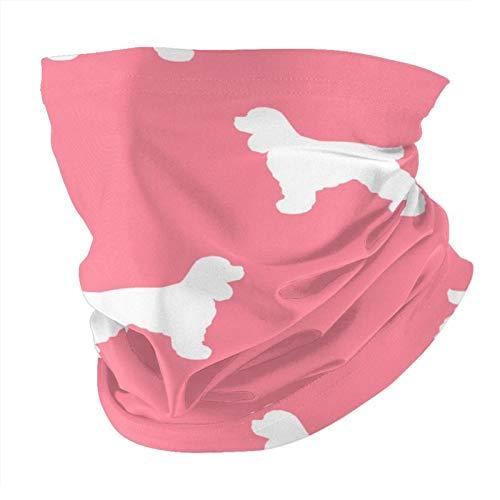 ZHANGPEIENfaqi Cocker Spaniel Silhouette Dog Razas Flamingo Variedad Cabeza Bufanda Moda Mascarilla Cara Cara Máscara a Prueba de Sol Moda Bandana Headwear Toalla Cara para Hombres y Mujeres