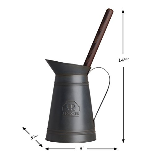 Redecker Toilet Brush with Dark Coated Metal Holder, High-Grade Nylon Toilet Brush with Oiled Thermowood Handle, Replaceable Head, Elegant Holder with Handle and Spout, Made in Germany
