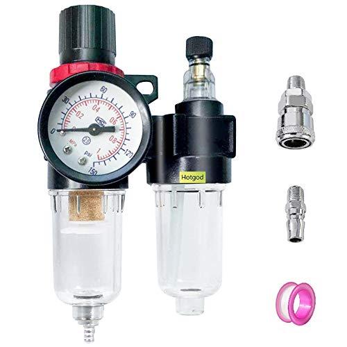 """Hotgod Filtro Aria Compressore Regolatore Filtro Umidità Trappola, 1/4""""Olio Acqua Separatore Trappola con Lubrificatore Cup per Air Tools System"""