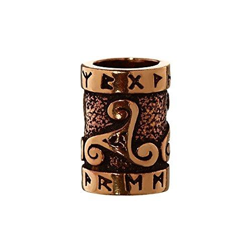 NKlaus Haarschmuck Bartperle TRIRUNA Triskel mit Runen Bronze Lockenperle 6414