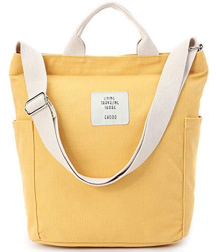 Worldlyda Women Canvas Tote Purse Handbags Crossbody Shoulder Bag Casual Work School Shopper Hobo Top Handle Handbag Yellow