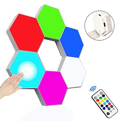 Luces de Juego Hexagonales, Luz Nocturna con Control Táctil y Remoto, Luces de Pared LED RGB de Geometría Creativa DIY con Alimentación USB para Decoración del Hogar, Configuración de Juegos, Regalos