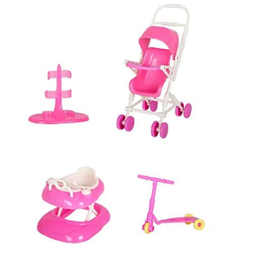 Uayasily Accesorios Accesorios Casa Conjunto De Juguete con Soporte del Cochecito De Bebé Walker Vespa para Toy Dolls