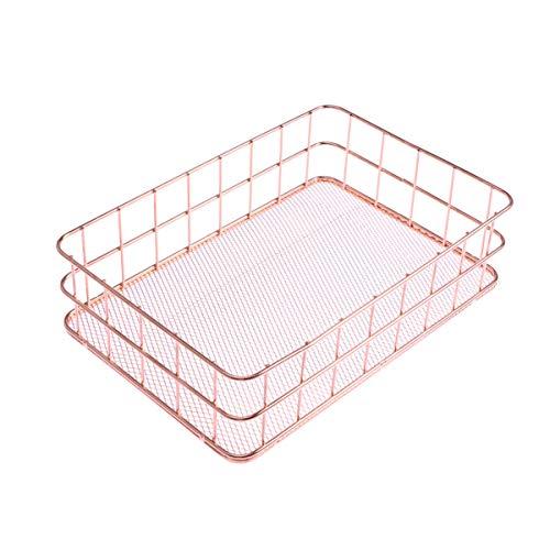 BESTOMZ Aufbewahrungskörbe Dekokörbe Metallkorb für Desktop Obst Snacks Schmuck Kosmetik Organizer Box (Rose Gold)
