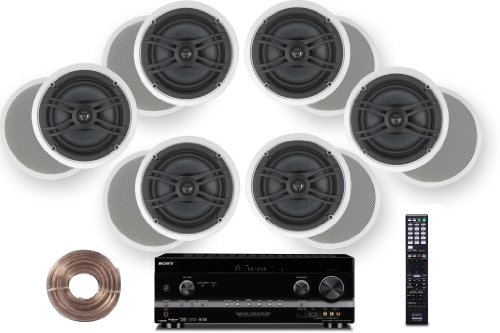 "Sony HD Digital Cinematic Sound 735 Watts 7.1 Channel 3D A/V Receiver with iPhone & iPod Playback + Yamaha Natural Sound Custom Install In-Ceiling 2-Way 120 watts Speaker (Set of 6) with 1"" Tweeters & 8"" Woofer + 100ft 16 AWG Speaker Wire"