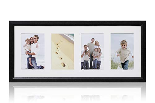 ARPAN - Marco de Fotos (Tablero DM, 4 Aberturas múltiples, con Soporte, Madera, Largo 50 x Ancho 21 x Alto 2 cm), Color Negro