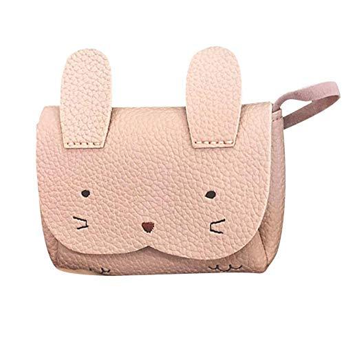 Kinderhandtasche, nettes Mädchen Kinderhandtasche Kinder Cartoon Tier PU Schulter Messenger Bag(Rosa)