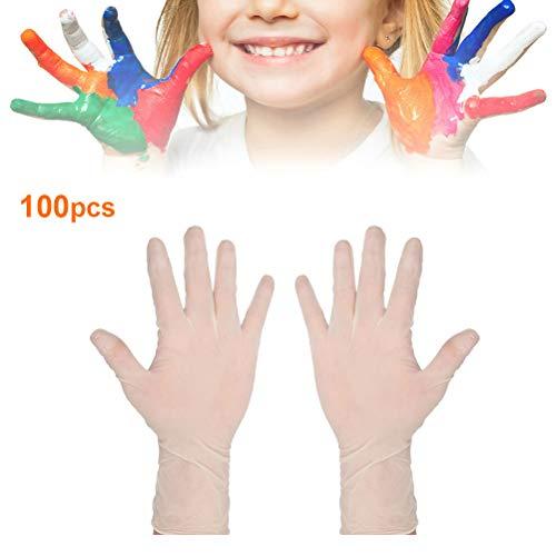 Deeabo 100 Stück Kinder Einweghandschuhe, elastische Latexhandschuhe Rutschfeste Hygienehandschuhe Puderfreie Kinderschutzhandschuhe zum Kochen, Backen, Essen greifen, Malen, Hausarbeit