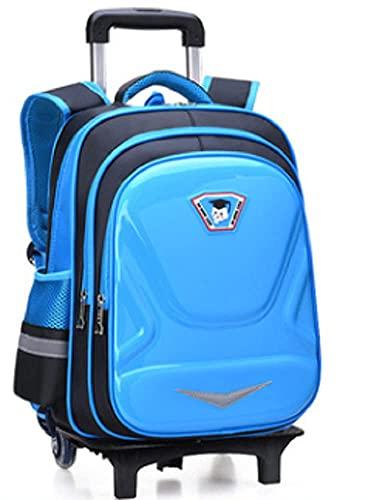 Nueva mochila en 3d con rueda para niños, subir escaleras, mochila escolar se puede usar para mochila de entrenamiento clase de tutorial y estudiantes de escuela primaria… (azul claro, dos ruedas)