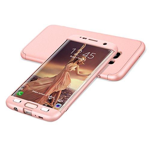 HopMore Fundas Samsung Galaxy S7 3 en 1 Duras Case 360 Mate Ultra Slim Antigolpes Design Resistentes PC Cover para Samsung Galaxy S7 - Rosa