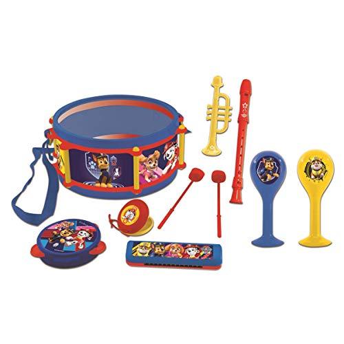 Lexibook Paw Patrol Chase Marshall Musikspielzeug, Musik-Set, 7 Musikinstrumenten (Trommel, Maracas, Castanet, Harmonika, Blockflöte, Trompete, Tamburin), Spielzeug Bequem zu tragen, Blau/Gelb, K360PA